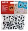Obrázek Dekorační očička APLI lepící / černé / kulaté / 100 ks