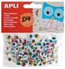Obrázek Pohyblivé oči APLI kulaté s řasami / samolepicí / 100 ks